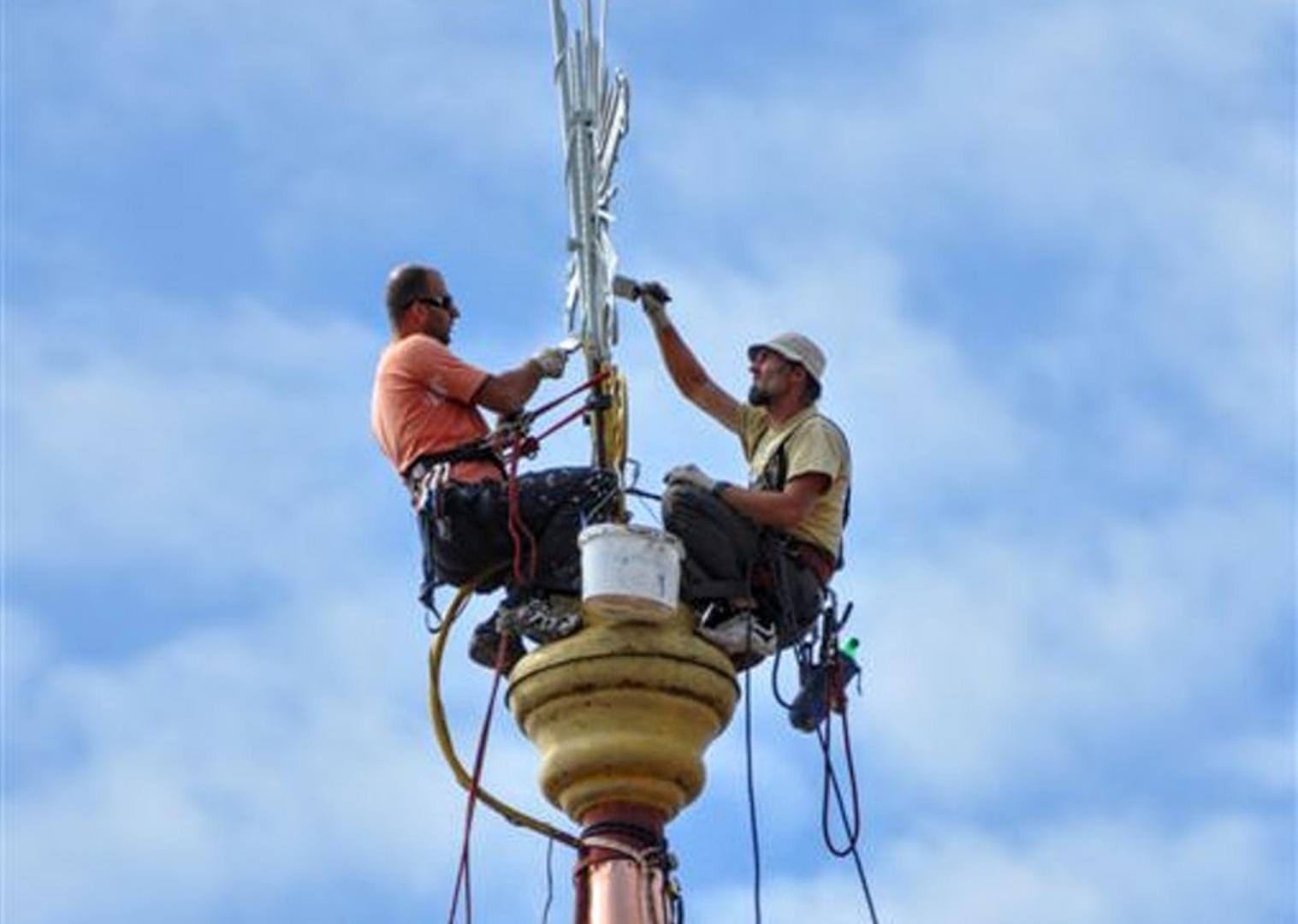 Oprava kríža a veže kostola 5.9.2012